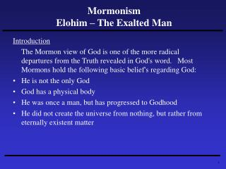 Mormonism Elohim – The Exalted Man