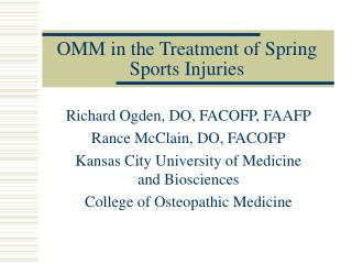 OMM in the Treatment of Spring Sports Injuries