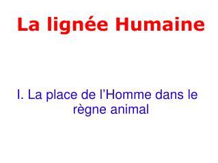 I. La place de l'Homme dans le règne animal