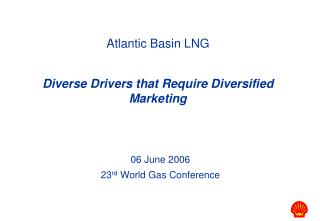 Atlantic Basin LNG Diverse Drivers that Require Diversified Marketing