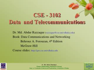 CSE - 3102 Data  and Telecommunications