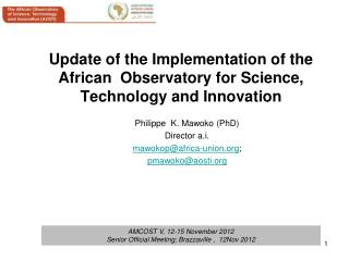 Update of the Implementation of the  African  Observatory for Science, Technology and Innovation