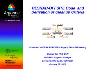 RESRAD-OFFSITE Code  and Derivation of Cleanup Criteria         Presented at EMRAS II NORM  Legacy Sites WG Meeting