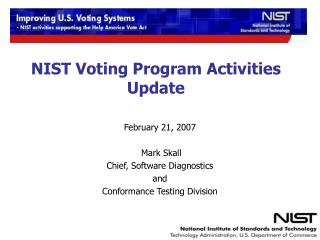 NIST Voting Program Activities Update