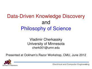 Data-Driven  Knowledge Discovery  and Philosophy of Science