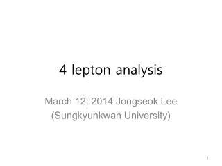 4 lepton analysis