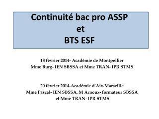 Continuité bac pro ASSP  et  BTS ESF