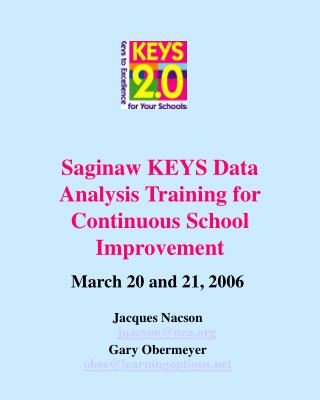 Saginaw KEYS Data Analysis Training for Continuous School Improvement