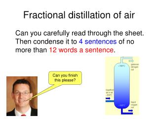 Fractional distillation of air
