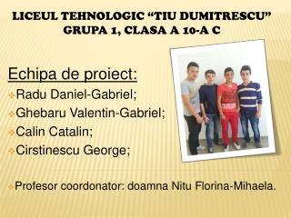 """LICEUL TEHNOLOGIC """"TIU DUMITRESCU"""" GRUPA 1, CLASA A 10-A C"""