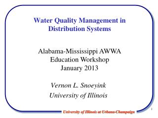 Water Quality Management in  Distribution Systems