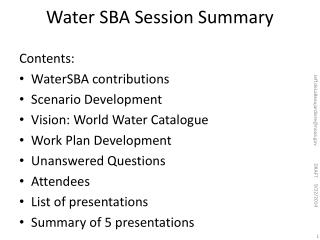 Water SBA Session Summary