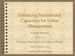 Enhancing Institutional Capacities for Urban Management