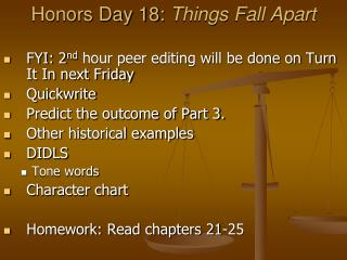 Honors Day 18:  Things Fall Apart