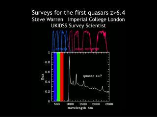 Surveys for the first quasars z>6.4 Steve Warren   Imperial College London UKIDSS Survey Scientist