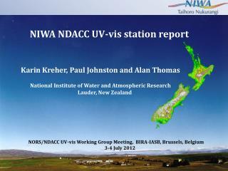NIWA NDACC UV-vis station report