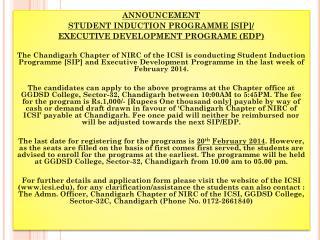 ANNOUNCEMENT  STUDENT  INDUCTION PROGRAMME [SIP ]/ EXECUTIVE DEVELOPMENT PROGRAME (EDP)