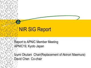 NIR SIG Report