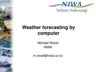 Weather forecasting by computer
