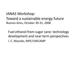 IANAS Workshop: Toward a sustainable energy future Buenos Aires, October 30-31, 2008