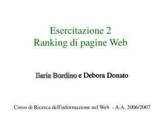 Esercitazione 2  Ranking di pagine Web