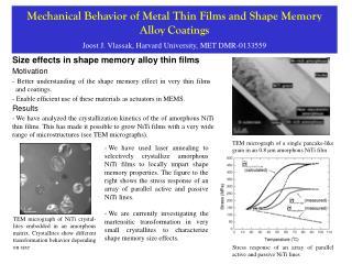 Size effects in shape memory alloy thin films
