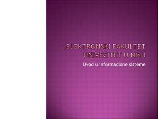 Elektronski fakultet univezitet  u  nisu