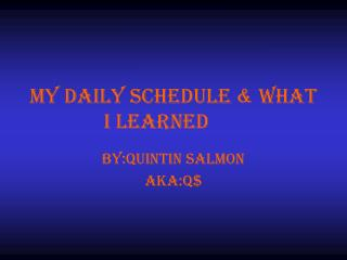 My daily schedule & what I learned
