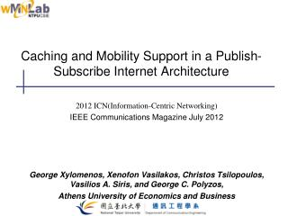 Caching and Mobility Support in a Publish-Subscribe Internet Architecture