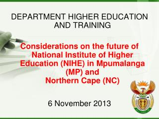 DEPARTMENT  HIGHER EDUCATION AND TRAINING