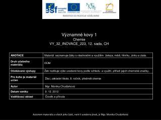 Významn é  kovy 1 Chemie VY_32_INOVACE_223, 12.  sada,  CH