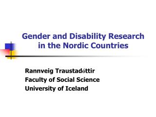 Gender and Disability Research  in the Nordic Countries