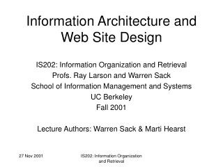 Information Architecture and Web Site Design