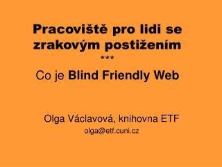 Pracoviště pro lidi se zrakovým postižením *** Co je  Blind Friendly Web