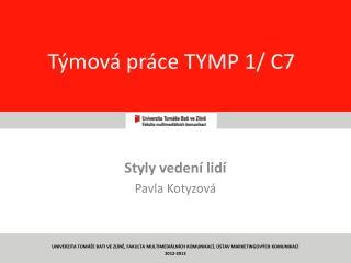 T�mov� pr�ce TYMP 1/ C7