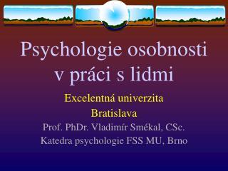 Psychologie osobnosti  v práci s lidmi