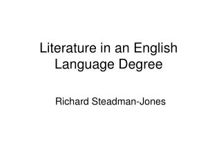 Literature in an English Language Degree
