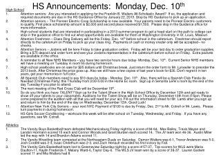 HS Announcements:  Monday, Dec. 10 th