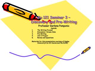 Ku 121 Seminar 3 –Discovery and Pre-Writing
