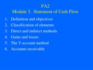 FA2 Module 3.  Statement of Cash Flow