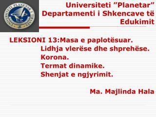 """Universiteti """"Planetar"""" Departamenti i Shkencave të Edukimit"""