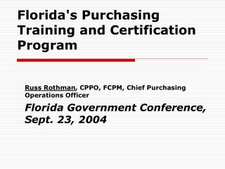 Florida's Purchasing Training and Certification Program
