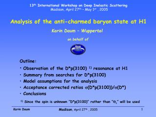 Analysis of the anti-charmed baryon state at H1