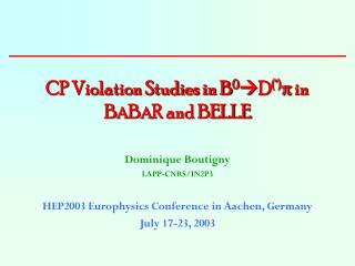 CP Violation Studies in B 0 D (*)   in B A B A R and BELLE