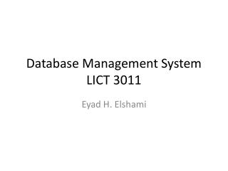 Database Management System LICT 3011