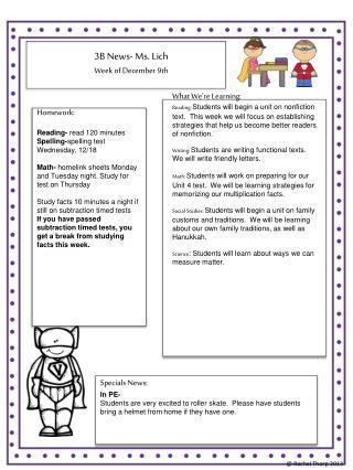 3B News- Ms. Lich Week  of  December 9th