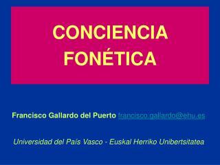 CONCIENCIA FON�TICA