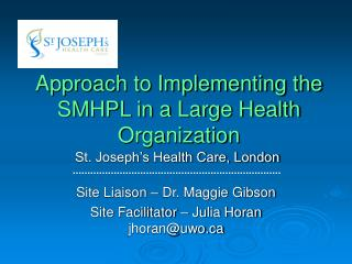 Approach to Implementing the SMHPL in a Large Health Organization