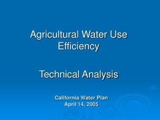 California Water Plan April 14, 2005