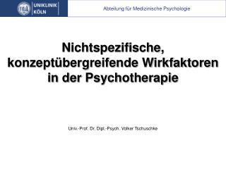 Nichtspezifische, konzept bergreifende Wirkfaktoren in der Psychotherapie